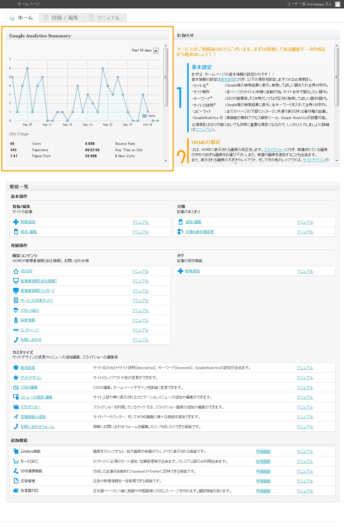管理画面 HOME Google Analytics | 初期費用無料ホームページ作成サイト - FunMaker